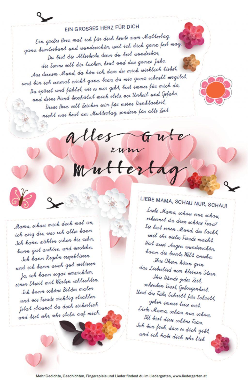 Gedichte zum Muttertag Vorlage zum Ausdrucken