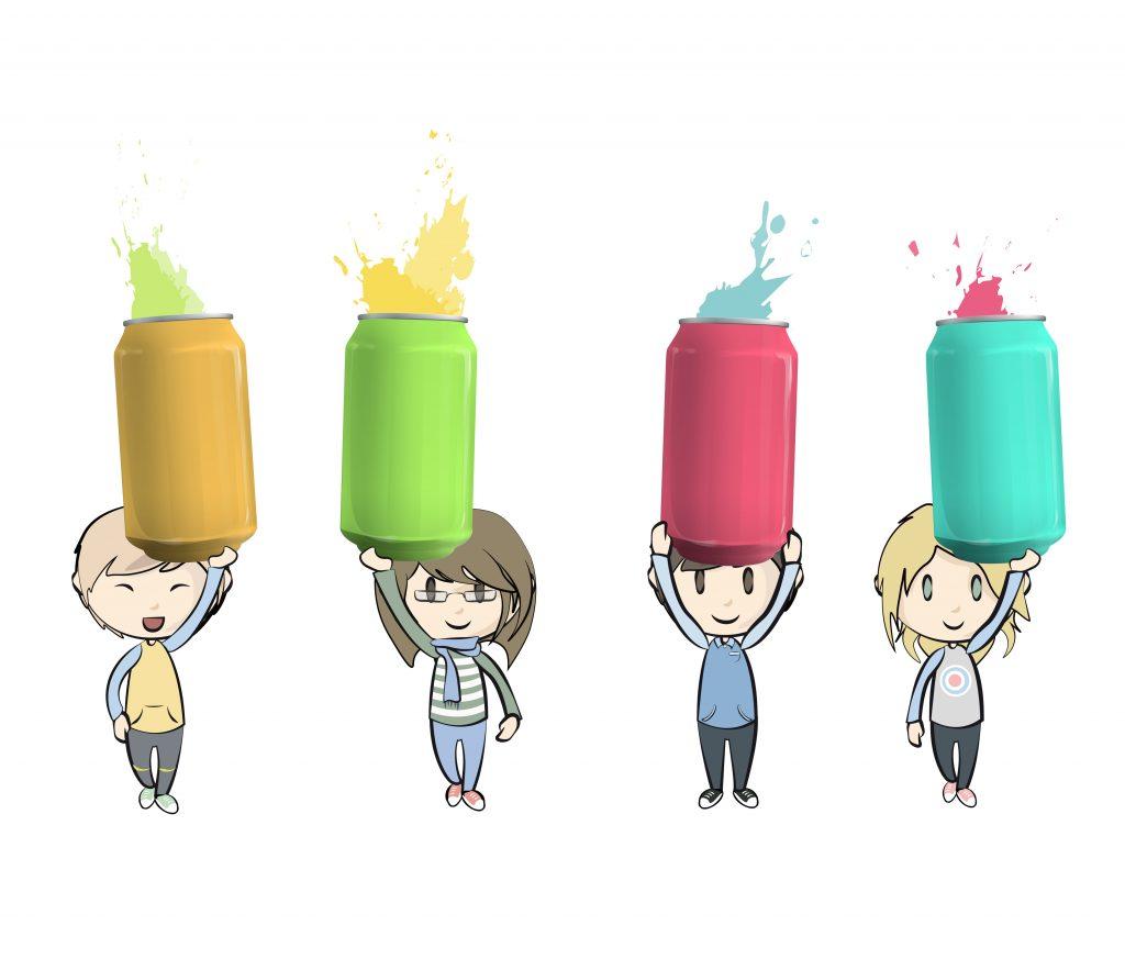 Kinder und Getränkedosen