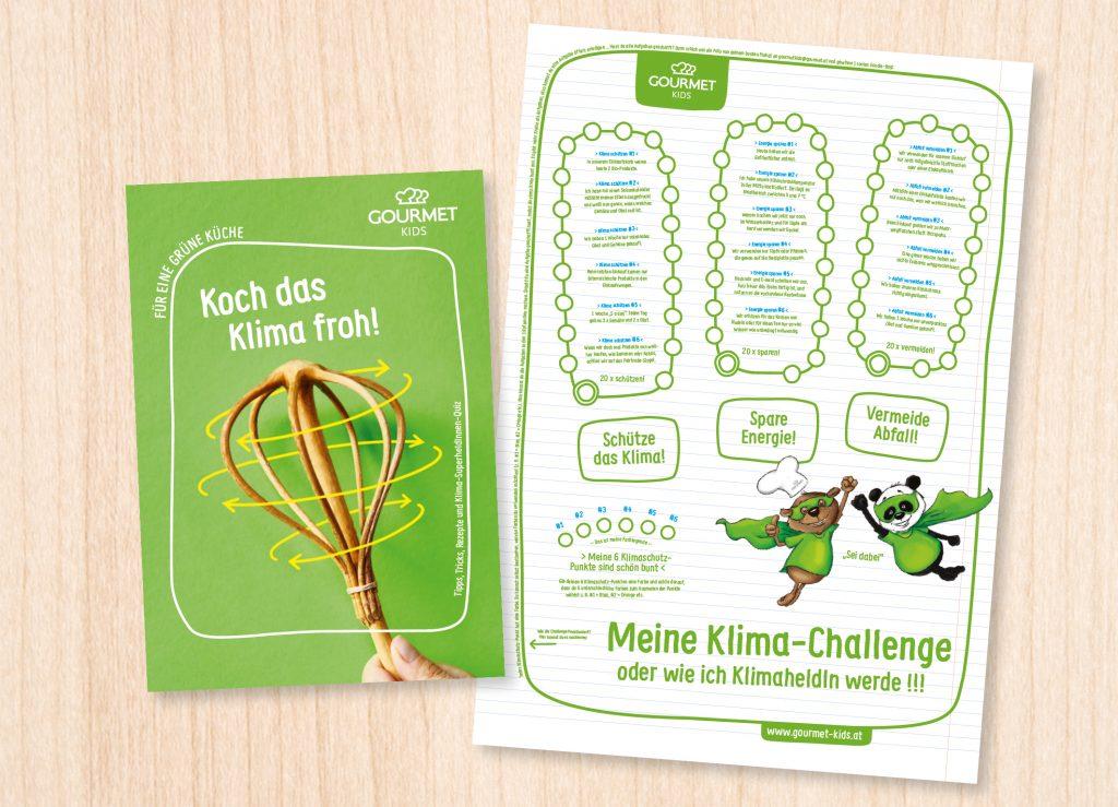 """Koch das Klima froh! – Broschüre und Poster """"Meine Klima-Challenge"""" – Klima-Punkte sammeln und zur Klimaheldin, zum Klimahelden werden."""