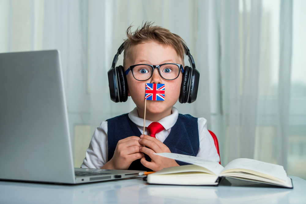 Funny,School,Boy,With,British,Flag.,Child,In,Headphones,And