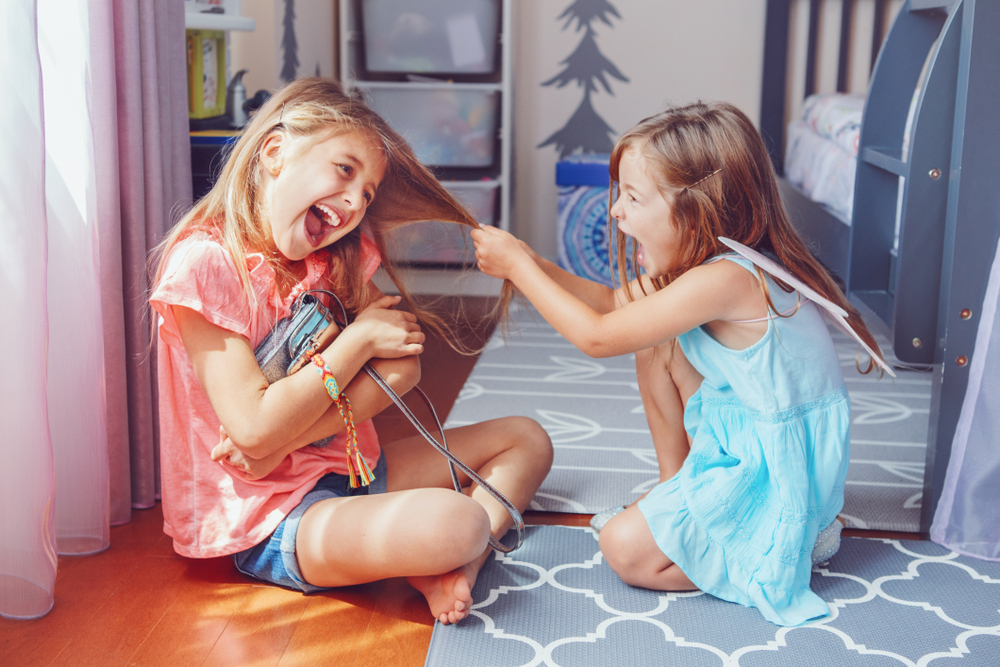 Two,Little,Mad,Angry,Girls,Sisters,Having,Fight,At,Home.
