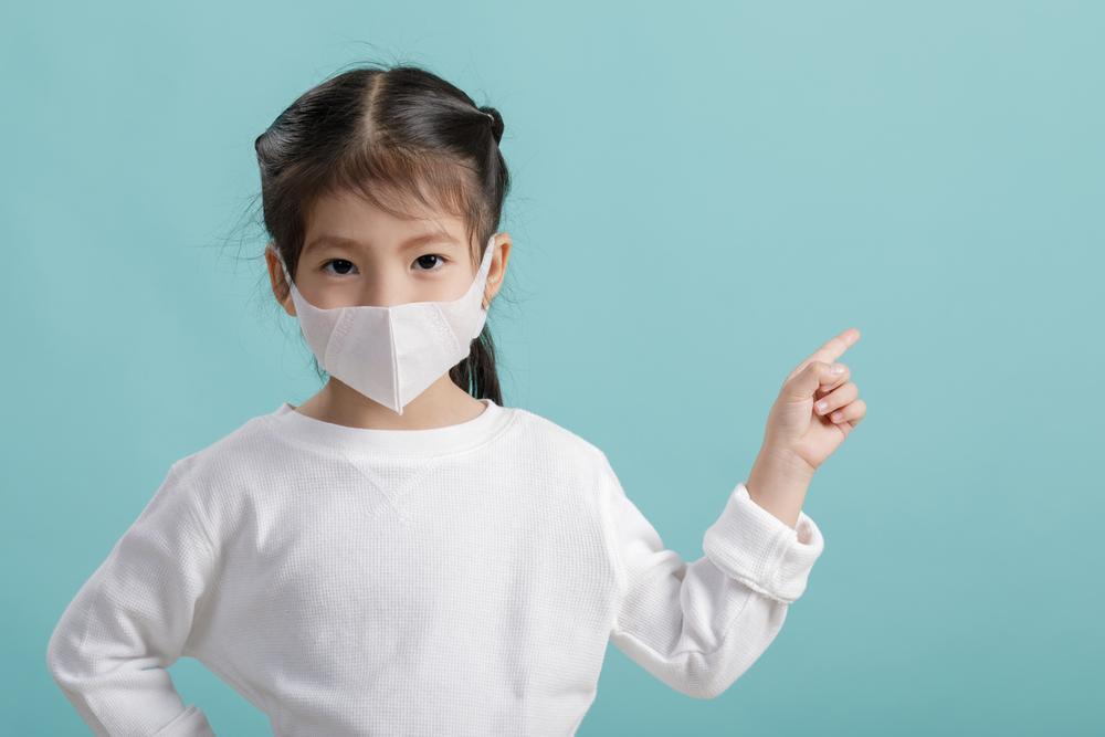 Asian,Little,Child,Girl,Wearing,Respirator,Mask,To,Protect,Coronavirus