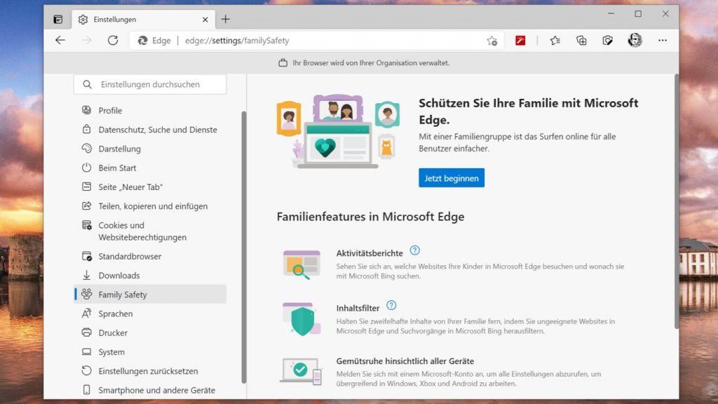 Microsoft Edge Familiengruppe