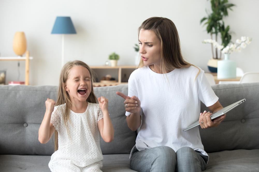 Stubborn,Little,Girl,Scream,Loud,Not,Listening,To,Strict,Mom,