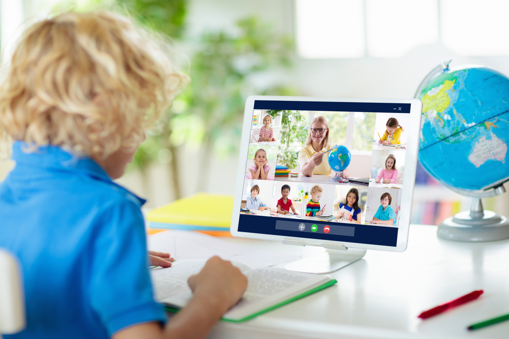 Online,Remote,Learning.,School,Kids,With,Computer,Having,Video,Conference