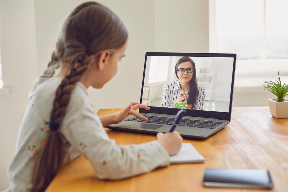 Online,Education,Of,Children.,Girl,Schoolgirl,Teaches,A,Lesson,Online