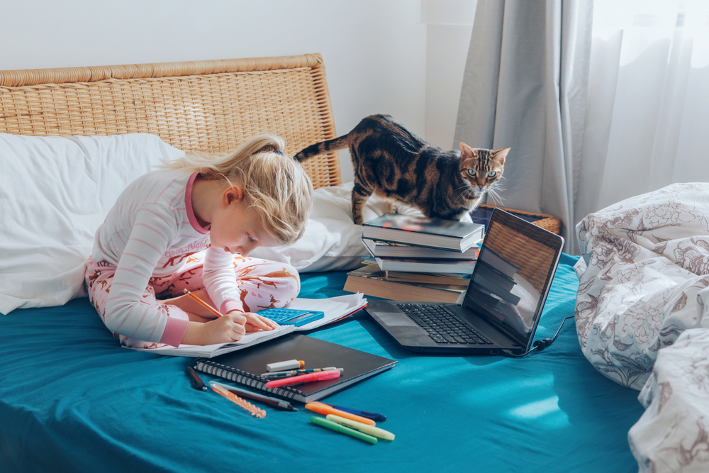 Caucasian,Girl,Child,Sitting,In,Bed,And,Learning,Online,On