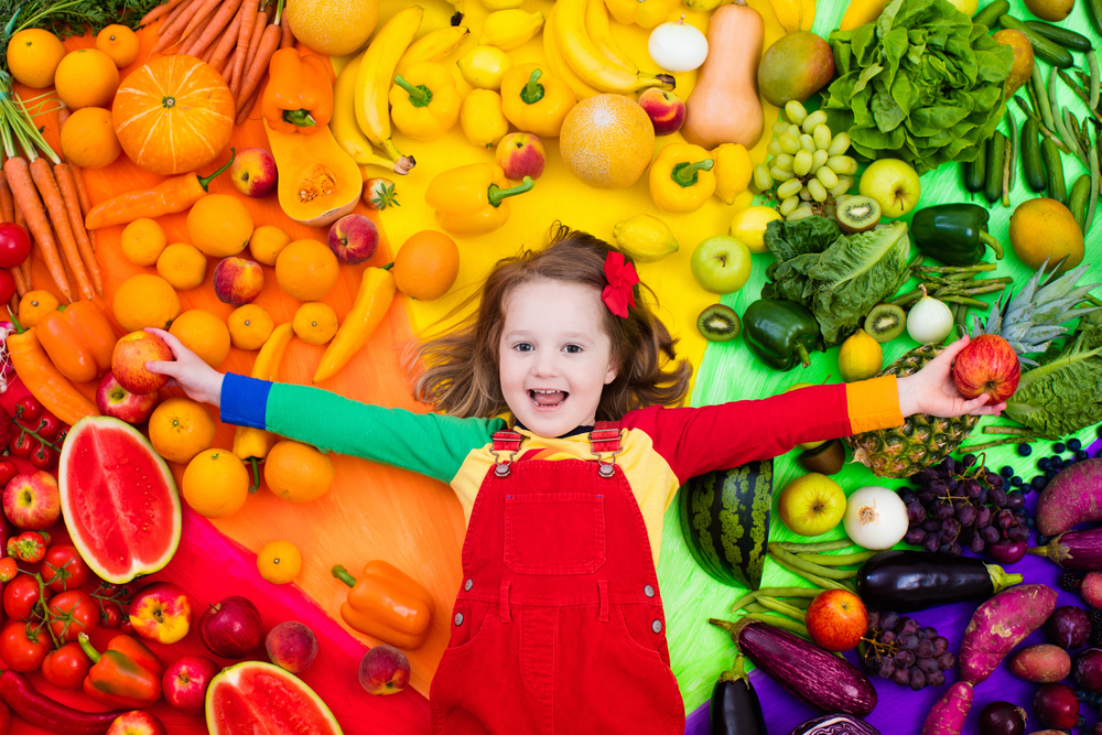 Little,Girl,With,Variety,Of,Fruit,And,Vegetable.,Colorful,Rainbow