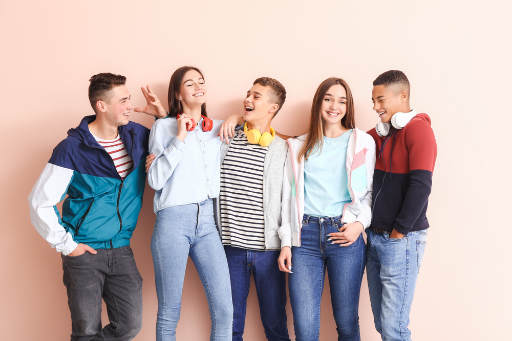Portrait,Of,Teenagers,On,Color,Background