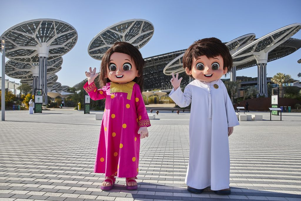 DUBAI, 20 January 2021. Expo Mascots Rashid and Latifa at Terra - The Sustainability Pavilion, Expo 2020 Dubai. (Photo by Dany Eid/Expo 2020 Dubai)